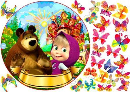 вот маша и медведь вафельная картинка медведь стоит